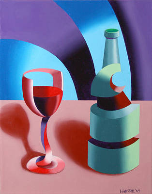 Art Print featuring the painting Abstract Futurist Wine And Glass Still Life Oil Painting by Mark Webster