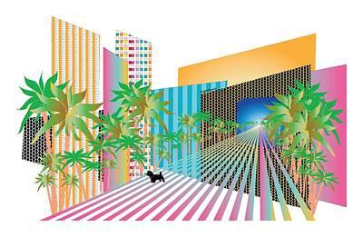 Digital Art - Futuristic Urban City In Color by Inge Lewis