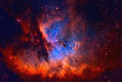 Painting - Abstract Galactic Nebula With Cosmic Cloud 2 by Asar Studios