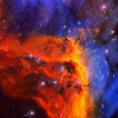 Painting - Abstract Galactic Nebula With Cosmic Cloud 5 by Celestial Images