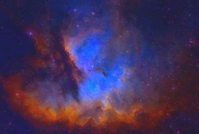 Painting - Abstract Galactic Nebula With Cosmic Cloud - Sml by Asar Studios