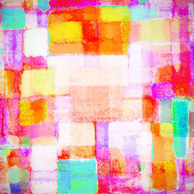 Repeat Painting - Abstract Geometric Colorful Pattern by Setsiri Silapasuwanchai