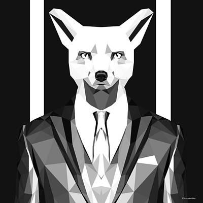 Sly Digital Art - Abstract Geometric Fox by Gallini Design