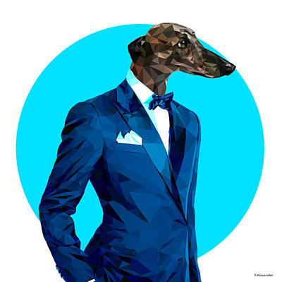 Whippet Digital Art - Abstract Geometric Greyhound by Gallini Design