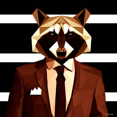 Raccoon Digital Art - Abstract Geometric Raccoon by Gallini Design