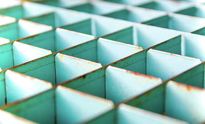 Photograph - Abstract Geometric Shapes Art - Vintage Storage Cubes by Wall Art Prints