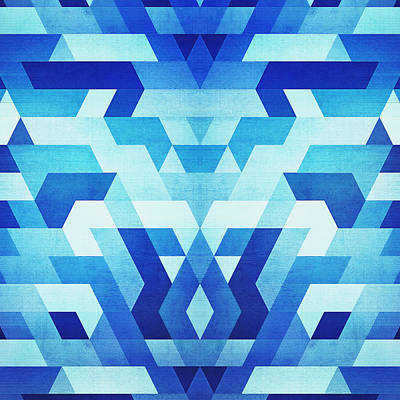 Abstract Geometric Triangle Pattern Futuristic Future Symmetry In Ice Blue Art Print
