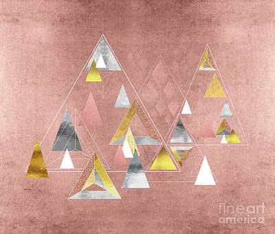 Abstract Digital Painting - Abstract Geometric Triangles, Gold, Silver Rose Gold by Tina Lavoie