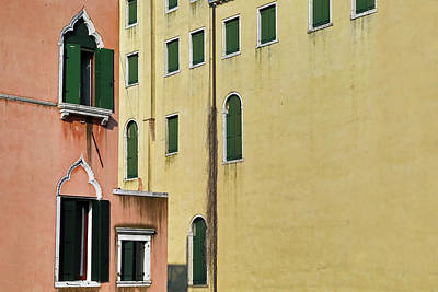 Terra Cotta Photograph - Abstract Geometric Venetian Buildings In Yellow And Peach by Brooke T Ryan