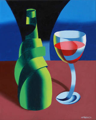 Mark Webster Painting - Abstract Geometric Wine Glass And Bottle by Mark Webster