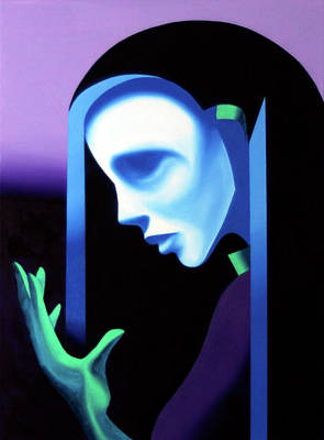 Daily Painter Painting - Abstract Ghost Mask by Mark Webster