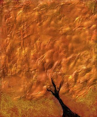 Digital Art - Abstract Gold Tree by Eduardo Tavares