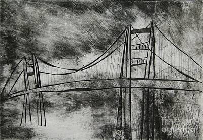 Golden Gate Mixed Media - Abstract Golden Gate Bridge Black And White Dry Point Print Cropped by Marina McLain