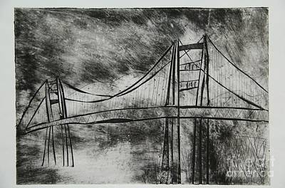 Golden Gate Mixed Media - Abstract Golden Gate Bridge Black And White Dry Point Print by Marina McLain