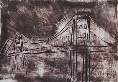 Creepy Mixed Media - Abstract Golden Gate Bridge Dry Point Print Cropped by Marina McLain