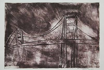 Creepy Mixed Media - Abstract Golden Gate Bridge Dry Point Print by Marina McLain