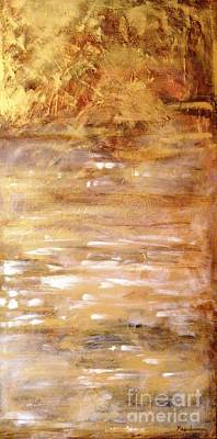 Painting - Abstract Golden Sunrise Beach  by Kristen Abrahamson