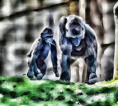 Abstract Gorilla Family Art Print