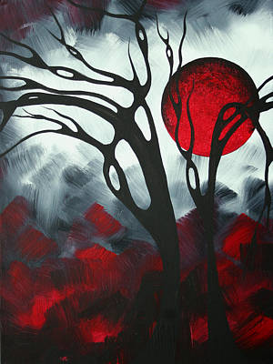 Large Moon Painting - Abstract Gothic Art Original Landscape Painting Imagine I By Madart by Megan Duncanson