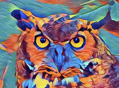 Abstract Great Horned Owl Art Print
