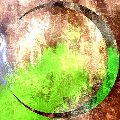 Crescent Moon Digital Art - Abstract Green And Gold Crescent Moon by Brandi Fitzgerald