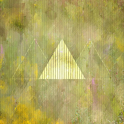 Triangles Digital Art - Abstract Green And Gold Triangles by Brandi Fitzgerald