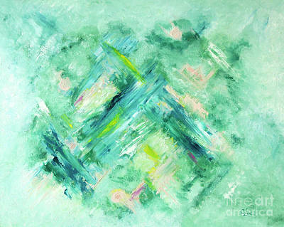 Painting - Abstract Green Blue by Cindy Lee Longhini