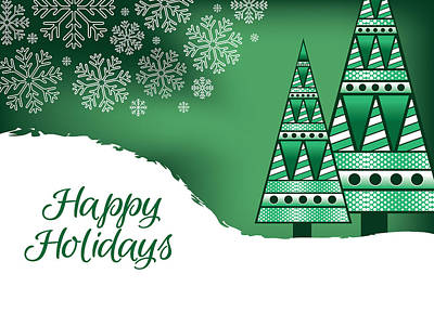 Digital Art - Abstract Green Christmas Trees Card by Serena King