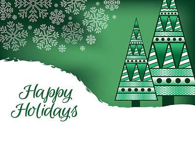 Michael Jackson - Abstract Green Christmas Trees Card by Serena King