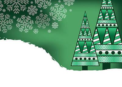 Digital Art - Abstract Green Christmas Trees by Serena King