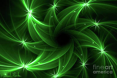 Digital Art - Abstract Green Comets by Michael Rucker
