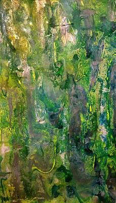 Versatile Mixed Media - Abstract Green Metallic by Darla J Bower Oder