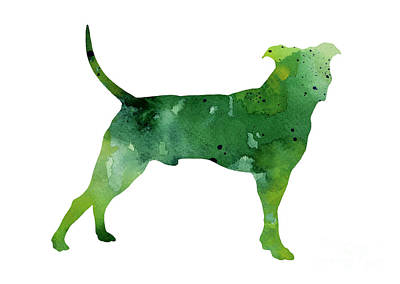 Abstract Green Pitbull Watercolor Painting Art Print by Joanna Szmerdt