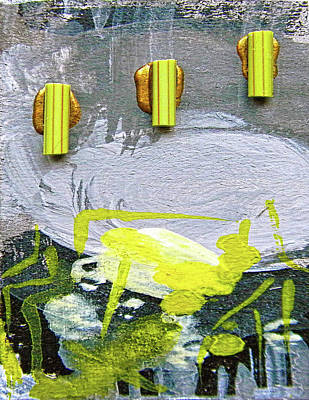 Acrylic Mixed Media - Abstract Grey And Yellow Right by Marian Voicu
