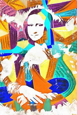 Louvre Mixed Media - Abstract Grunge Mona Lisa by Dan Sproul