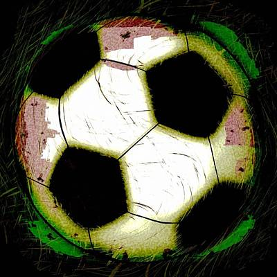 Abstract Grunge Soccer Ball Art Print by David G Paul