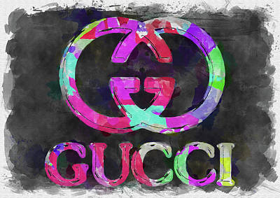Abstract Royalty-Free and Rights-Managed Images - Abstract Gucci Logo Watercolor by Ricky Barnard