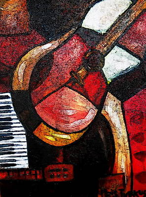 Painting - Abstract Guitar by Pristine Cartera Turkus