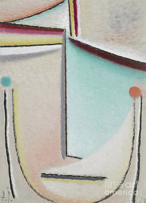 Jawlensky Painting - Abstract Head  Pink Light Blue, 1929 by Alexej von Jawlensky
