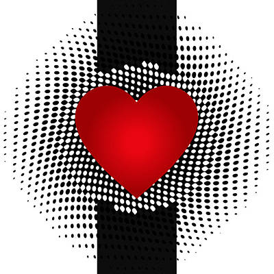 Drawing - Abstract Heart With Black And White Dots by Serena King