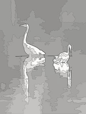 Photograph - Abstract Herons Gray by Keith Boone