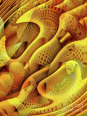 Mysterious Digital Art - Abstract Honeycomb by John Edwards