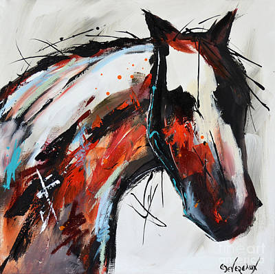 Wild Horse Painting - Abstract Horse 14 by Cher Devereaux