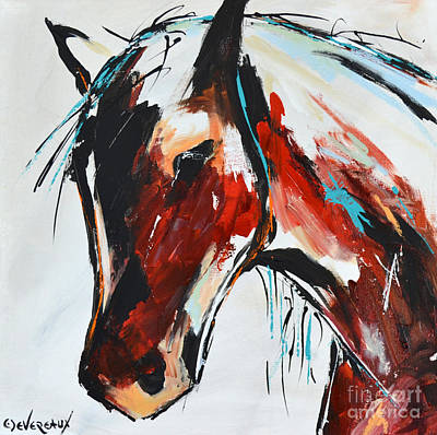 Wild Horse Painting - Abstract Horse 15 by Cher Devereaux
