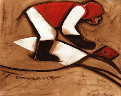 Painting - Abstract Horse Racing Jockey Art Print by Tommervik