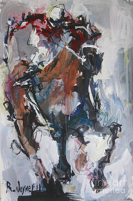 Art Print featuring the painting Abstract Horse Racing Painting by Robert Joyner