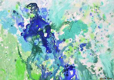Painting - Abstract In Blue And Green by Gina De Gorna