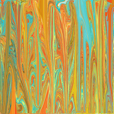Digital Art - Abstract In Copper, Orange, Blue, And Gold by Jessica Wright