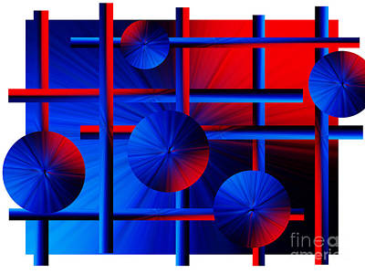 Abstract In Red/blue Art Print