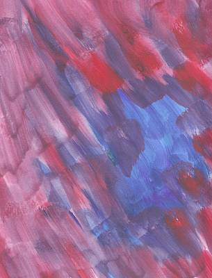 Abstract In  Shades Of Red, Blue And Purple Art Print by Shelley A Sonnenberg